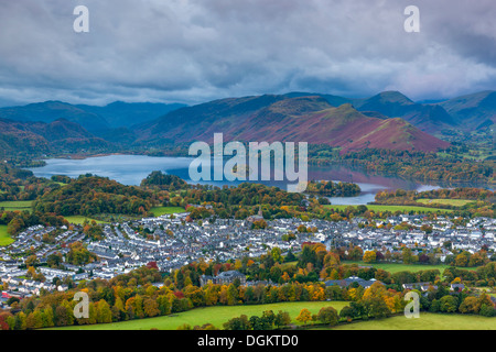 View over Keswick and Derwent Water from Latrigg summit towards Derwent Fells. - Stock Photo