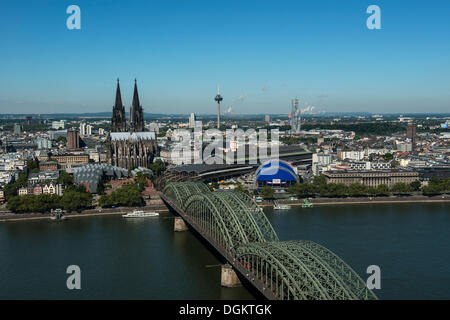 View of the historic district, Museum Ludwig, Cologne Cathedral, the Opernzelt concert tent and Hohenzollernbruecke - Stock Photo