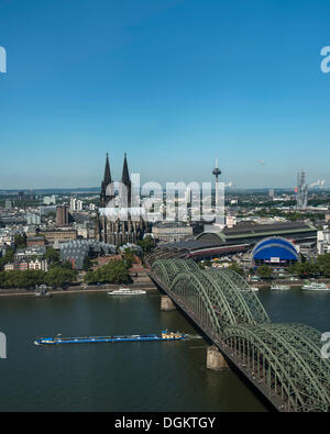 View across the Rhine river, view of the historic district, Museum Ludwig, Cologne Cathedral, Central Station, the - Stock Photo