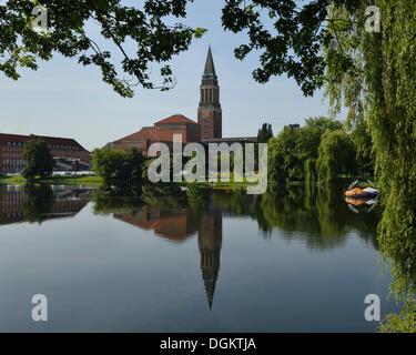 Kleiner Kiel lake in front of Kiel City Hall behind the landmark City Hall Tower, Kiel, Schleswig-Holstein, PublicGround - Stock Photo
