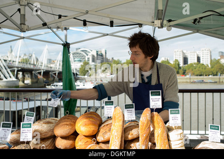 Artisan bakeries from across London set up their stalls on the South Bank to show and sell their wares at The Real - Stock Photo