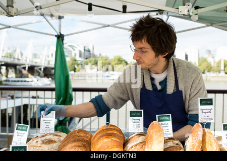 The market stall of an artisan bakery at the London Bread Festival. - Stock Photo