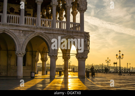 Morning light and shadows of Doge's Palace in Venice. - Stock Photo