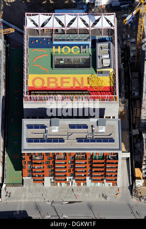 Aerial view, message 'Ganz hoch oben', German for 'very high up', on the roof of Katharinenschule primary school, - Stock Photo