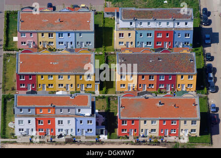 Aerial view, colourful row of houses in the university district of Luebeck, Luebeck, Lübeck, Schleswig-Holstein, - Stock Photo