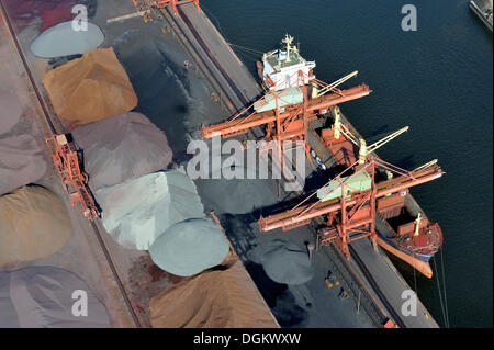 Aerial view, a ship of the Russian Far Eastern Shipping Company is unloading Russian ore, Hamburger Hansaport, Hamburg, - Stock Photo