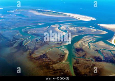 Aerial view, Wangerooge island, Lower Saxon Wadden Sea National Park, Lower Saxony, Germany - Stock Photo