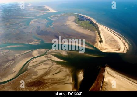 Aerial, Wadden Sea area 'Hoher Ruecken', Wangerooge island, Lower Saxon Wadden Sea National Park, Lower Saxony, - Stock Photo