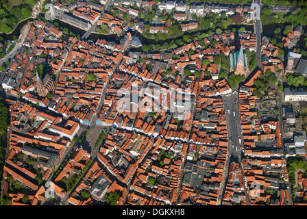 Aerial view, Hanseatic City of Lueneburg, Lüneburg, Lower Saxony, Germany - Stock Photo