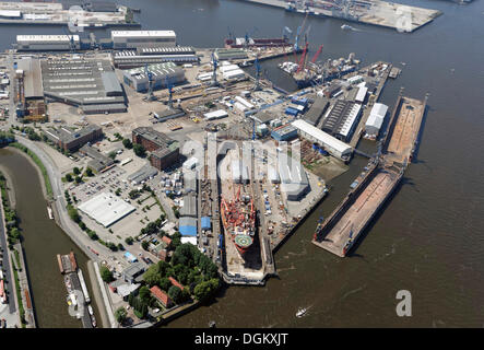 Aerial view, ship in the Elbe 17 dry dock at the Blohm + Voss shipyard, Hamburg-Port, Hamburg, Hamburg, Germany - Stock Photo