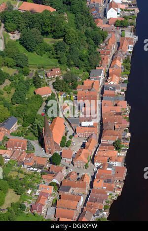 Aerial view, townscape of Lauenburg on the Elbe River, Lauenburg an der Elbe, Schleswig-Holstein, Germany - Stock Photo