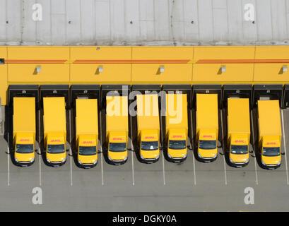Aerial view, post vehicles, fleet of Deutsche Post DHL, Hamburg, Hamburg, Germany - Stock Photo