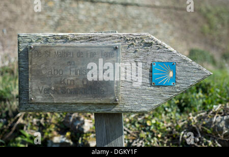 Signpost for the Camino de Santiago, Way of St. James, Finistère department of Brittany, France, Europe - Stock Photo