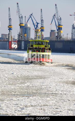 Ship in the port of Hamburg in the winter, Hamburg - Stock Photo