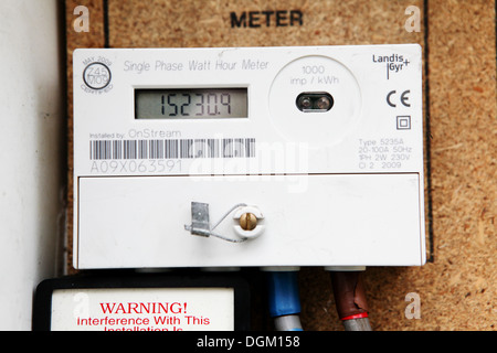 Electricity meter with digital dial numbers domestic external home fuel heating rising cost utility expensive - Stock Photo