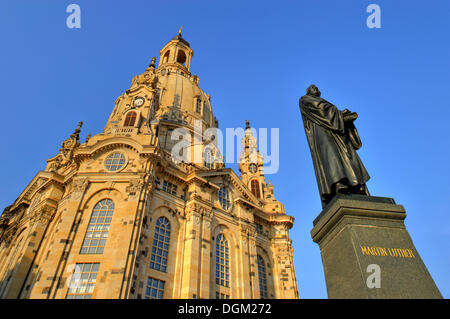 Martin Luther monument in front of the Frauenkirche Church of Our Lady, Dresden, Saxony - Stock Photo