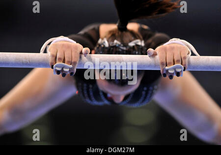 Detail, gymnast with hand protection for the high bar and uneven bars, Marta Pihan-Kulesza, Poland - Stock Photo