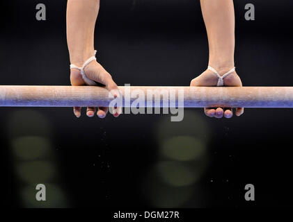 Detail, gymnast on uneven bars - Stock Photo