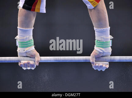 Detail, gymnast with hand protection for the high bar and uneven bars, EnBW Gymnastics World Cup 2009, Porsche-Arena - Stock Photo