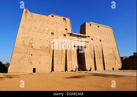 Entrance Pylon, Temple of Horus at Edfu, Upper Egypt - Stock Photo