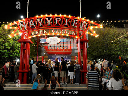 Night shot, gateway to the Navy Pier amusement park, Chicago, Illinois, United States of America, USA - Stock Photo