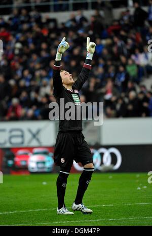 Celebrating goal keeper Tobias Sippel, 1 FC Kaiserslautern - Stock Photo
