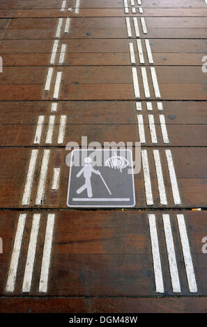 Floor markings for the visually impaired and blind people, Gare de l'Est, Paris East Railway Station, Paris, France, - Stock Photo