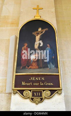 Depiction of Jesus on the cross, Saint-Louis des Invalides Church, L'Hôtel national des Invalides building complex, - Stock Photo