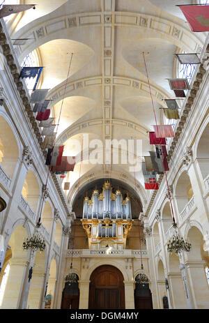 Interior view, organ, Saint-Louis des Invalides Church, L'Hôtel national des Invalides building complex, a retirement - Stock Photo