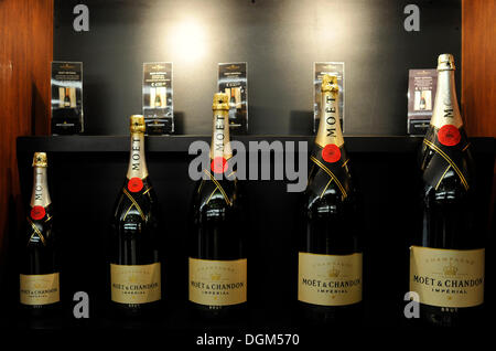 Champagne bottles in various sizes, Imperial, Moet et Chandon winery, LVMH luxury goods group, Louis Vuitton Moet - Stock Photo