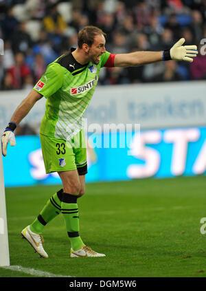 Tom Starke, goalkeeper of TSG 1899 Hoffenheim, managing the defence, WIRSOL Rhein-Neckar-Arena, Hoffenheim-Sinsheim - Stock Photo