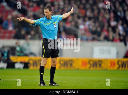 Referee Wolfgang Stark showing foul play, awarding a free kick, Mercedes-Benz Arena, Stuttgart, Baden-Wuerttemberg