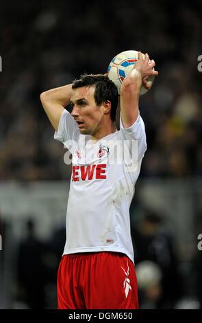 Christian Eichner, 1. FC Koeln, throwing-in the ball, Wirsol Rhein-Neckar-Arena, Sinsheim-Hoffenheim, Baden-Wuerttemberg - Stock Photo