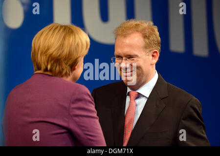 German Chancellor Angela Merkel, CDU, greeting Sebastian Turner, candidate for mayor, Stuttgart, Baden-Wuerttemberg - Stock Photo