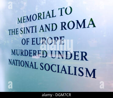 Inscription on the memorial to the Sinti and Roma of Europe murdered under National Socialism, by Dani Karavan, - Stock Photo