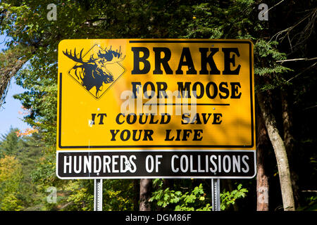 Warning sign on a road, brake for moose, New Hampshire, New England, USA - Stock Photo