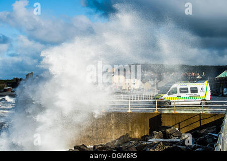 Aberystwyth Wales UK, Wednesday 23 October 2013 Gale force winds, a high tide and stormy seas bring huge waves crashing - Stock Photo