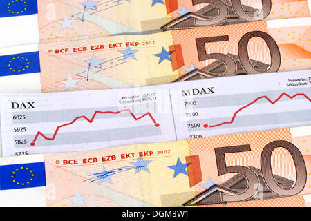 DAX, MDAX stock chart, 50 euro bank notes, paper money, symbolic image for stock market gains, stock market losses - Stock Photo