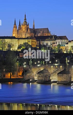 View of the Vltava river, Charles Bridge, St. Vitus Cathedral, at night, UNESCO World Heritage Site, Prague, Bohemia - Stock Photo