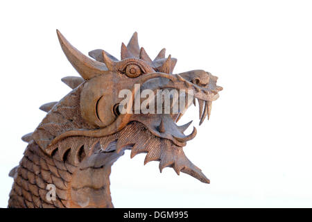 Balinese dragon head made from palm wood, traditional Balinese wood carving, Bali, Indonesia, Southeast Asia - Stock Photo