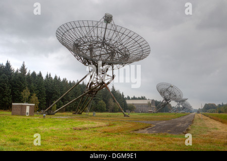 Radio telescopes on the site of the former concentration camp Westerbork, Netherlands - Stock Photo