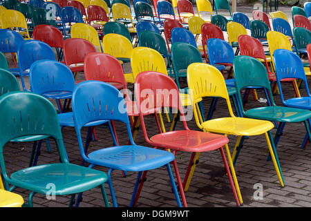 Rows Of Colorful Chairs Standing In Front Of A Stage, Abandoned Spreepark  Berlin Amusement Park