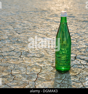 The landscape of the Black Rock Desert in Nevada. A bottle of water. Filtered mineral water. - Stock Photo