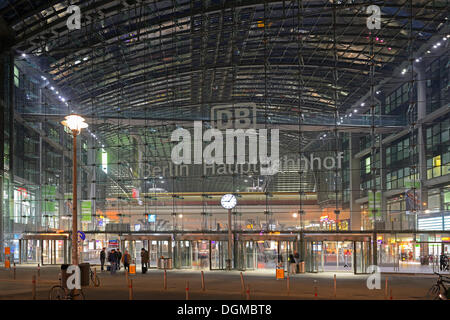 Front main entrance to Berlin Central Railway Station, Lehrter Bahnhof, in the evening, Berlin, Berlin, Berlin, - Stock Photo