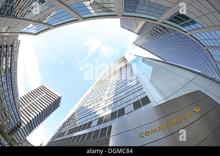 Commerzbank building, Financial District, Frankfrut am Main, Hesse - Stock Photo