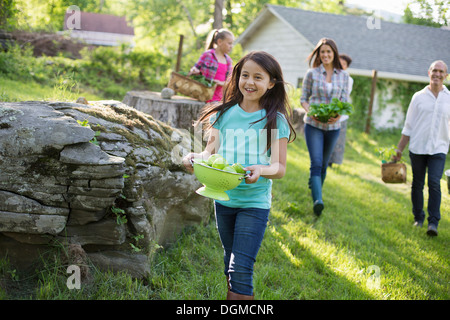 Organic farm. Summer party. A family carrying baskets and bowls of food across the grass. - Stock Photo