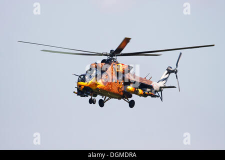 MIL MI-24 Hind, Russian attack helicopter from the Hungarian Air Force painted like an eagle, Breitscheid Airshow - Stock Photo