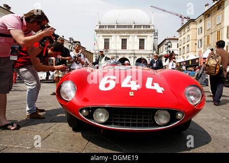 Vintage car, Ferrari 500 Mondial, built in 1955, Mille Miglia 2011, Piazza della Loggia, historic town centre of - Stock Photo