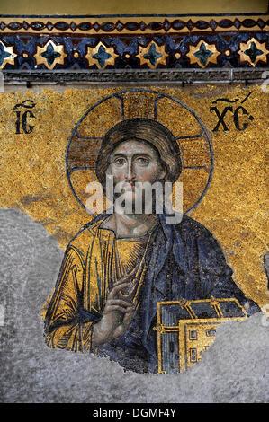 Deesis Mosaic, detail view, Jesus Christ Pantocrator, Hagia Sophia, Ayasofya, Istanbul, Turkey - Stock Photo