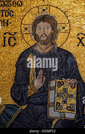 Mosaic, Jesus Christ Pantocrator, Hagia Sophia, Ayasofya, Istanbul, Turkey - Stock Photo